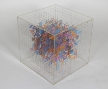 Irving Harper Paper and String Sculpture in Acrylic Box, 3/4 View