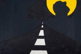 "Allan D'Arcangelo Acrylic on Canvas Painting ""Moon"" Signed En Verso"