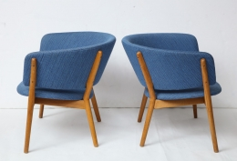 Nanna Ditzel ND83 Lounge Chairs Upholstered in Blue Fabric, 5