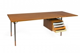 Finn Juhl Model BO69 Nyhavn Teak Desk with Extension for Bovirke, 3/4 View Drawers Opened