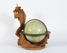 Carved Wood Globe by Albert Poels