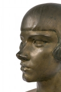 "Gertrude Vanderbilt Whitney Bronze Sculpture ""Young Woman"", Close Up Profile"