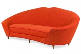 Cesare Lacca Curved Sofa Reupholstered in Orange Fabric