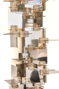 Gaetano Sciolari Chrome Panel & Lucite Cube Geometric Sconces
