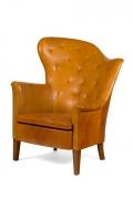 Steen Eiler Rasmussen Asymmetrical Leather Armchair for AJ Iverson, 3/4 View