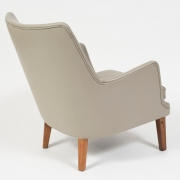 Pair of Arne Vodder Leather Lounge Chairs by Ivan Schlechter, 3/4 Back