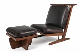 George Nakashima Conoid Lounge Chair and Ottoman with Leather Cushions