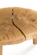 "Solid Oak ""Troll"" Occasional Table by Lop Furniture, Top 3/4 View Cropped"