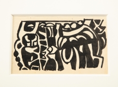 "Nell Blaine Black & White Ink Drawing on Paper ""Shooting Gallery"""