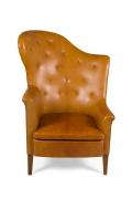 Steen Eiler Rasmussen Asymmetrical Leather Armchair for AJ Iverson, Front