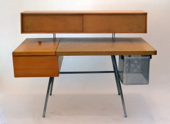 George Nelson Wood and Leather Office Desk for Herman Miller, Front View