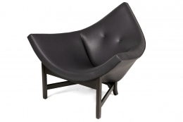 Adrian Pearsall Black Leather Coconut Chair