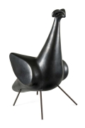 "Georges Jouve Glazed Stoneware ""Oiseau 4 Pattes"""