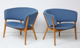 Nanna Ditzel ND83 Lounge Chairs Upholstered in Blue Fabric, 2
