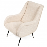 Pair of Mid-Century Modern Italian Lounge Chairs in White Fabric