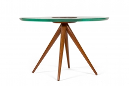 Italian Glass and Mahogany Round Occasional Table in the Manner of Pietro Chiesa, Side View
