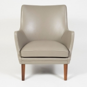 Pair of Arne Vodder Leather Lounge Chairs by Ivan Schlechter, front
