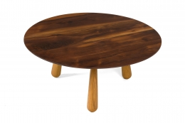 Walnut and Oak Round Coffee Table by Oluf Lund, 3/4 Top View
