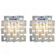 Carlo Nason Interlocking Opalescent Glass Mazzega Sconces