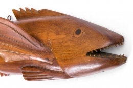 "Pitcairn Island ""Mutiny on the Bounty"" Hand Carved Wall-Mounted Flying Fish"