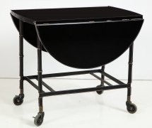 Jacques Adnet Leather Wrapped Drop-Leaf Serving Table on Casters, 3/4 View