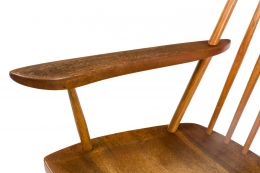 "George Nakashima Walnut and Hickory ""New Chair"" Rocker"