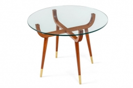 Pair of Italian Midcentury Style Glass Top Mahogany Side Tables
