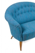 Large Midcentury Style Sofa in the Manner of Dunbar by Lost City Arts, Cropped Half View