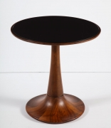 Round Walnut Side Table with Black Glass Top