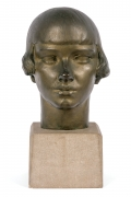 "Gertrude Vanderbilt Whitney Bronze Sculpture ""Young Woman"""