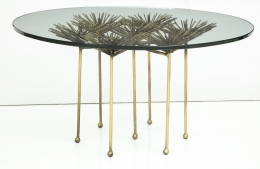 Brutalist Gilt Floral Table with Glass Top in the Manner of Seandel or Jere, Side View
