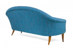 Large Midcentury Style Sofa in the Manner of Dunbar by Lost City Arts, 3/4 Back View