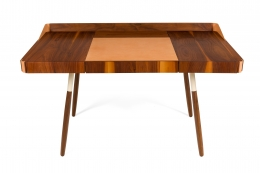 "Walnut and Leather ""Missboss Desk"" by Oluf Lund for Lop, Front View"