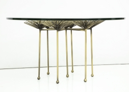 Brutalist Gilt Floral Table with Glass Top in the Manner of Seandel or Jere, Side View 2