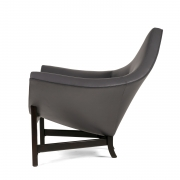 Adrian Pearsall Black Leather Coconut Chair, side