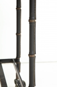 Jacques Adnet Leather Wrapped Drop-Leaf Serving Table on Casters, View of Legs