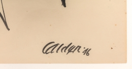 "Alexander Calder Signed & Dated India Ink on Paper ""Stabile Drawing"""