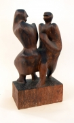 Hand-Carved Walnut Sculpture of Dancers by John Begg, 3/4 View