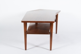 Walnut Coffee Table in the style of Bertha Schaefer for Singer & Sons, Side View