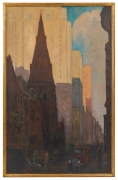 Oil on Canvas Painting of St. Mark's Church in Philadelphia