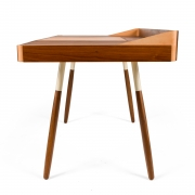 "Walnut and Leather ""Missboss Desk"" by Oluf Lund for Lop, Side View"