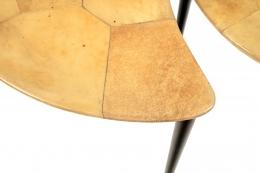 Aldo Tura Goatskin Crescent Nesting Tables, Close Up of Corner