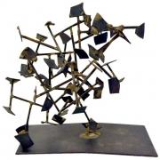 Harry Bertoia Welded Steel and Brass Sculpture