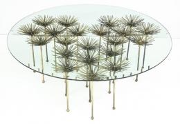 Brutalist Gilt Floral Table
