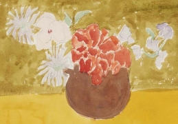 """Sally Michel Avery Watercolor """"Still Life on Yellow Table"""""""