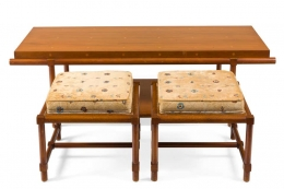 Tommi Parzinger Cocktail/Coffee Table with Pull-Out Stools or Side Tables