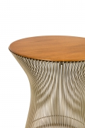 Warren Platner Walnut and Chrome Side Table for Knoll, 3/4 Top View Cropped