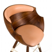 """Walnut and Leather """"Zun"""" Dining or Conference Chair by Lop Furniture, Close Up"""