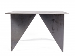 Artist Made Architectural Steel Table by Robert Koch, Side View