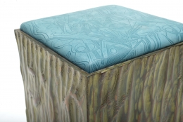 Phillip Lloyd Powell Painted Hand Carved Stools with Abstract Patterned Textile, 3/4 Top View